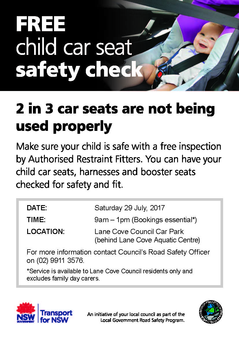 Child car seat safety check Saturday 29 July 2017 A4 poster.jpg